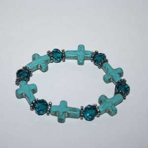 Beautiful turquoise and silver cross bracelet